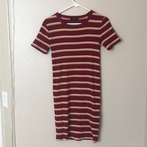 2FOR22$ FOREVER21 RED YELLOW BODYCON STRIPED DRESS